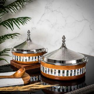 حافظة طعام للتقديم مطلي بالنيكل