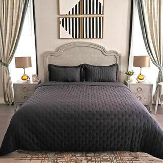 طقم غطاء سرير 3 قطع كينج لون أزرق من كوتاج