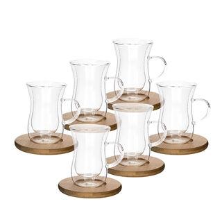 طقم أكواب زجاج مزدوج و صحون خشبية 12 قطعة