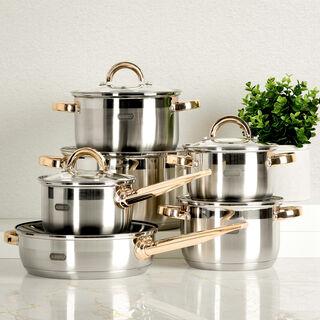 طقم أدوات طهي ستانلس ستيل 12 قطعة   مقابض ذهبية