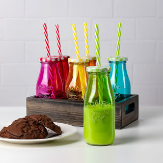 طقم قوارير حليب زجاجية بمصاص بلاستيكي و غطاء معدني 6 قطع متعدد الالوان من البرتو