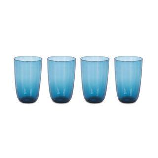 طقم أكواب زجاجية 4 قطع لون ازرق من لاميسا
