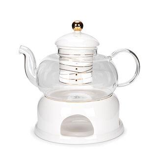 ابريق شاي انجليزي مع سخّان ذهبي