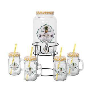 طقم موزع عصير زجاجي مع 4 اكواب سعة 3000+450 مل تصميم أناناس من البرتو