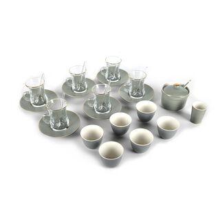 طقم شاي و قهوه لـ6 أشخاص اخضر 28 قطع