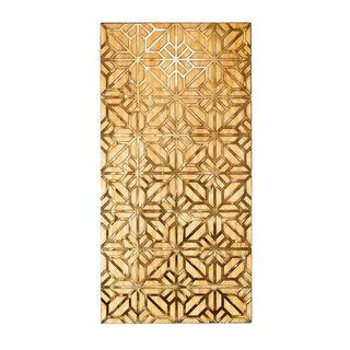 ديكور حائط من المعدن والخشب لون ذهبي