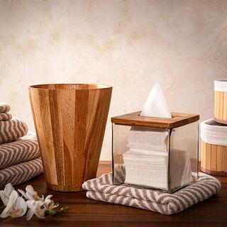 علبة مناديل من الخشب والزجاج