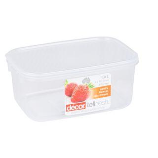 حافظة طعام بلاستيك مستطيل بغطاء محكم الإغلاق سعة 1لتر بغطاء ابيض من ديكور