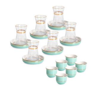 طقم شاي و قهوة عربي بورسلان 20 قطعة كحلي