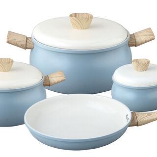 طقم أدوات طهي سيراميك 7 قطع لون أزرق