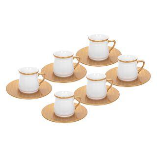 طقم قهوة تركية 12 قطعة لون ذهبي