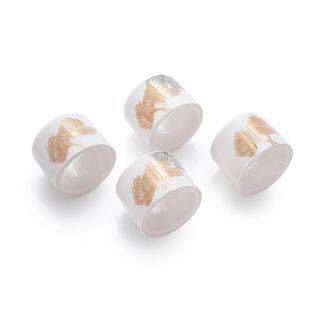 طقم خواتم مناديل سفرة بورسلان 4 قطع بورود ذهبية من لاميسا
