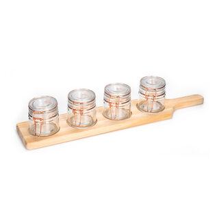 طقم برطمانات زجاج 4 قطع بغطاء نحاسي وحامل خشبي من البرتو