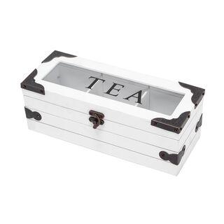 صندوق شاي خشب و زجاج 3 اقسام