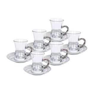 طقم أكواب شاي 12 قطعه تصميم رخام لون فضي من لاميسا