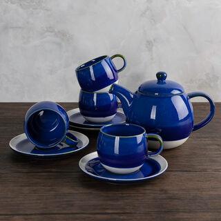 طقم شاي بورسلان 5 قطع لون أزرق من لاميسا