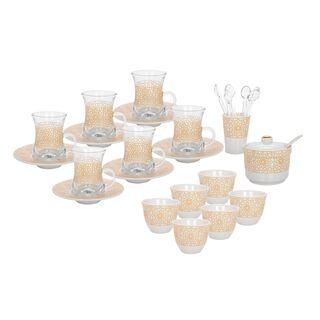 طقم شاي وقهوة بورسلان 28 قطعة من زخرف