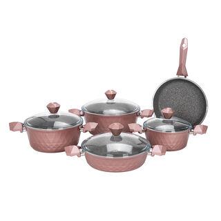 طقم ادوات طهي بغطاء زجاجي 9 قطع لون وردي من البرتو