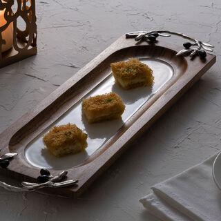 صينية تقديم خشبية مستطيلة الشكل تصميم الزيتون مقاس 40 سم