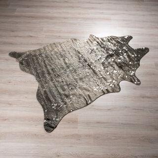 سجادة من جلد صناعي تصميم جلد البقر لون رمادي غامق  150*200 سم من كوتاج