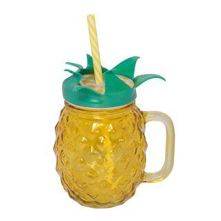 كوب عصير مع مصاص 450مل تصميم الأناناس