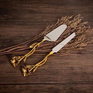 لاميسا طقم ادوات مائدة قطعتين  لون فضي وذهبي