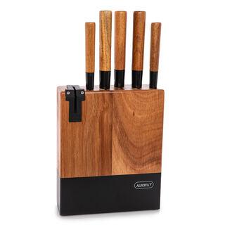 طقم سكاكين بمقابض وحامل خشبي من البرتو