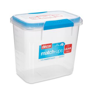 حافظة طعام بلاستيك مستطيل بغطاء محكم الإغلاق سعة 2.3لتر بغطاء ازرق من ديكور