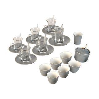 طقم شاي و قهوه لـ6 أشخاص رصاصي 28 قطعة