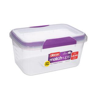 حافظة طعام بلاستيك مستطيل بغطاء محكم الإغلاق سعة 3لتر بغطاء بنفسجي من ديكور