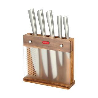 طقم سكاكين ستانلس ستيل 5 قطع بحامل خشبي من البرتو