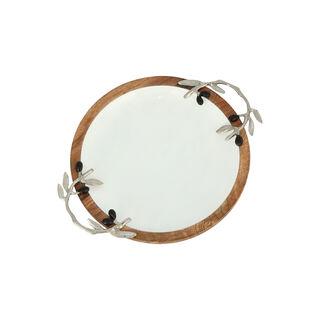 طبق تقديم خشبي تصميم الزيتون قطر 25 سم