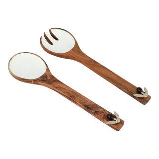 طقم ادوات السلطة من الخشب تصميم الزيتون قطعتين