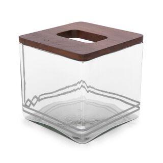 علبة حافظة للمناديل خشب و زجاج تصميم كوفه