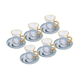 طقم أكواب شاي 12 قطعه تصميم رخام لون فضي/ذهبي من لاميسا
