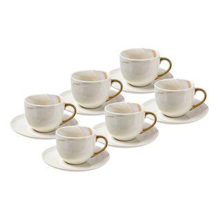 طقم أكواب شاي مع صحون 12 قطعة رخام ذهبي من لاميسا
