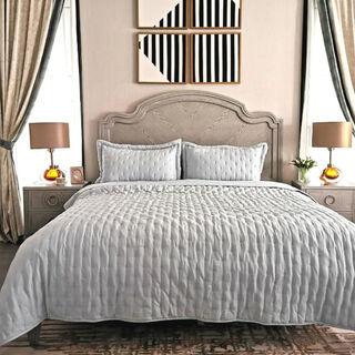 طقم غطاء سرير 3 قطع كينج لون سماوي من كوتاج