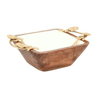 صحن مكسرات خشبي مربع الشكل لون ذهبي من لاميسا