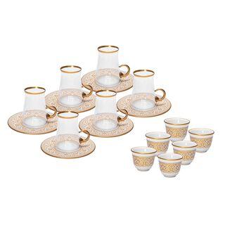 طقم شاي وقهوة عربي 18 قطعة لون ذهبي