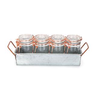 طقم برطمانات زجاج 4 قطع بغطاء نحاسي وحامل معدني من البرتو
