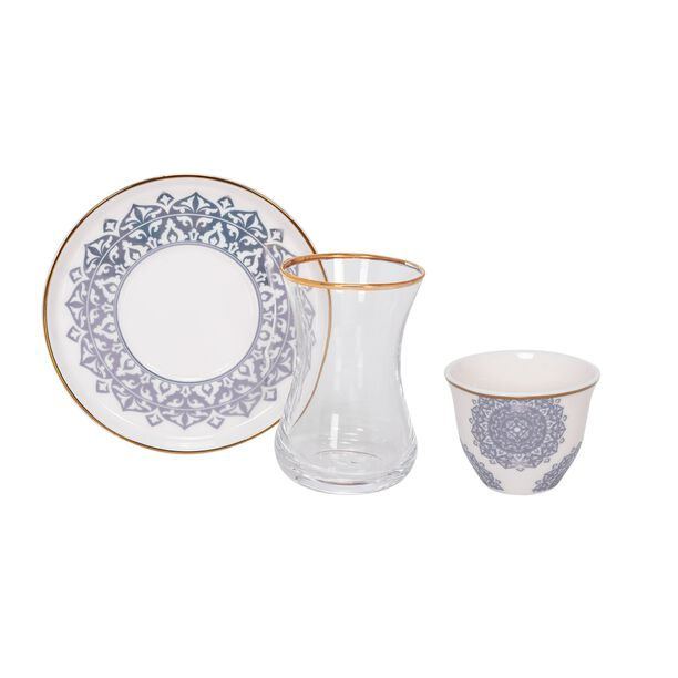 طقم شاي وقهوة 18 قطعة لون أزرق معدني من لاميسا image number 1