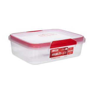 حافظة طعام بلاستيك مستطيل بغطاء محكم الإغلاق سعة 4لتر بغطاء احمر من ديكور
