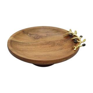 طبق تقديم خشبي تصميم الزيتون قطر 35 سم
