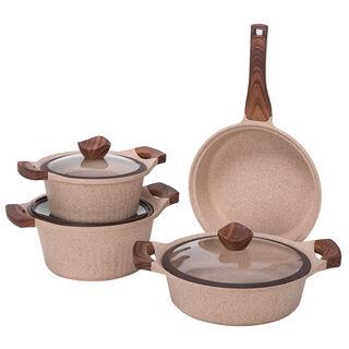 طقم أدوات طهي جرانيت 7 قطع من البرتو بني حجري