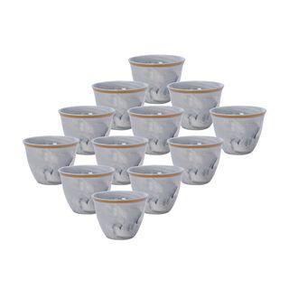 طقم فناجين قهوة عربية 12 قطعة رخام رمادي مع ذهبي من لاميسا