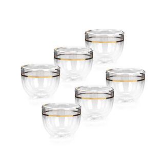 طقم فناجين قهوة عربية زجاج مزدوج 6 قطع ذهبي