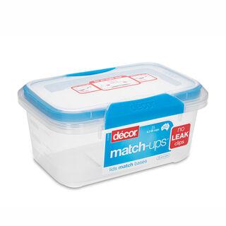 حافظة طعام بلاستيك مستطيل بغطاء محكم الإغلاق سعة 1لتر بغطاء ازرق من ديكور