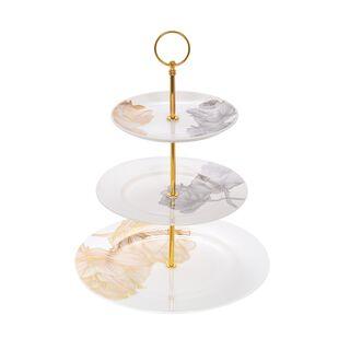 طبق تقديم كيك بورسلان 3 طبقات بورود ذهبية من لاميسا