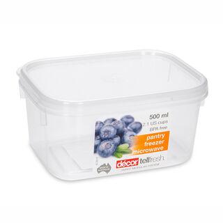 حافظة طعام بلاستيك مستطيل بغطاء محكم الإغلاق سعة 500مل بغطاء ابيض من ديكور
