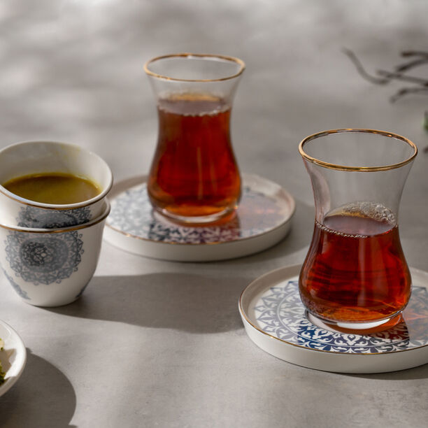 طقم شاي وقهوة 18 قطعة لون أزرق معدني من لاميسا image number 2